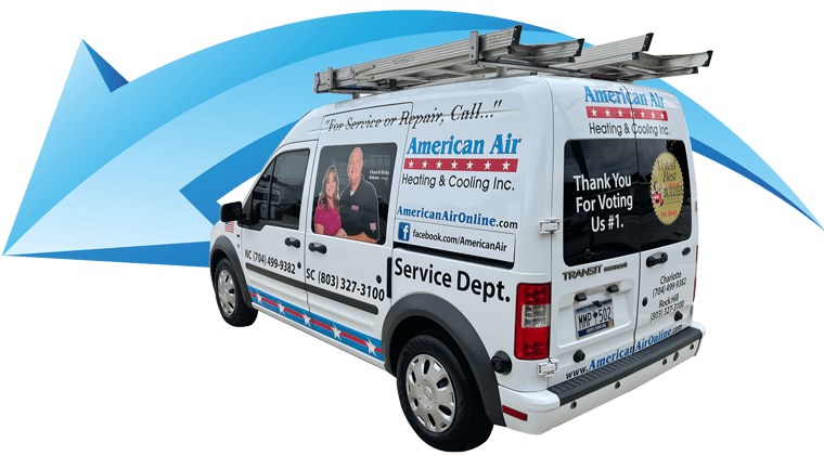 American Air Heating & Cooling | company van in front of blue arrow